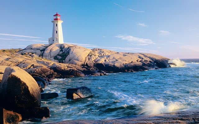 Lighthouse surrounded by rocks
