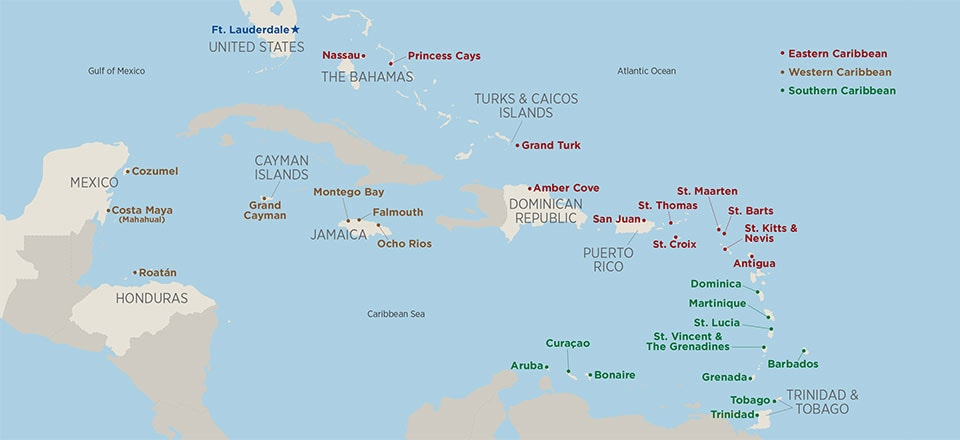 7 Day Caribbean Cruises Princess Cruises – St Thomas Map Caribbean