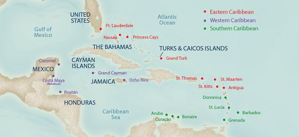 26 New Caribbean Cruise Destinations Map Youmailr Com