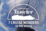 Christ the Redeemer, with the text conde nast traveler 7 cruise wonders of the world