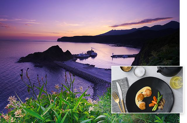 Shiretoko Peninsula, Japan and Hotate gai no kimi yaki, pan-seared scallops in a ginger-orange sauce.