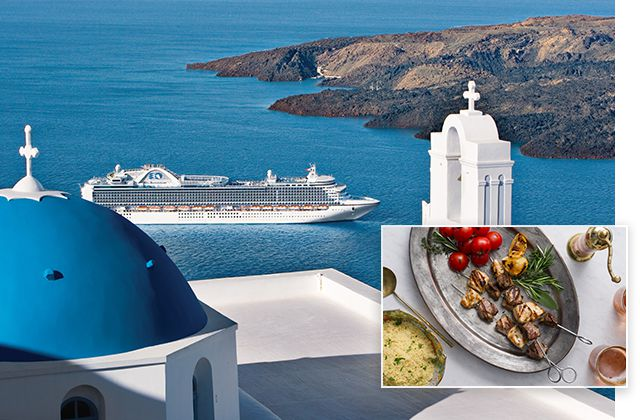 Santorini, Greece and a trilogy of lamb, eal and chicken kebabs