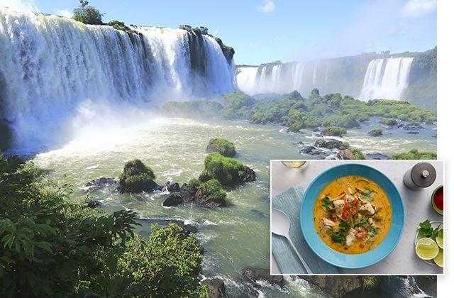 Cristo Redentor en Río de Janeiro, Brasil, y Moqueca de peixe, guiso tradicional de pescado portugués