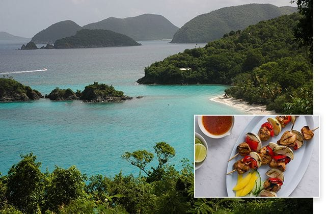 Trunk Bay, St. John, U.S. Virgin Islands and jerk chicken brochette