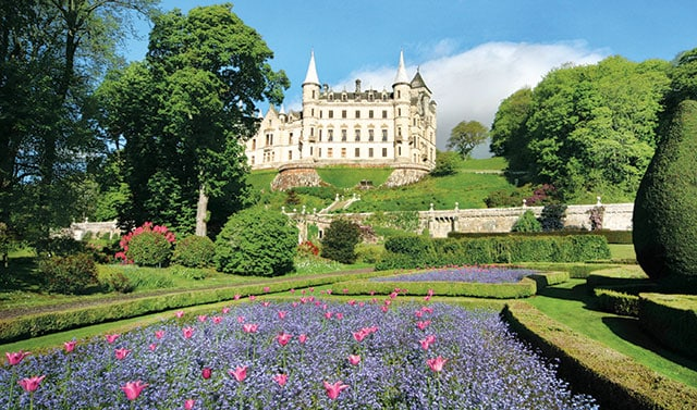 white castle and garden in europe