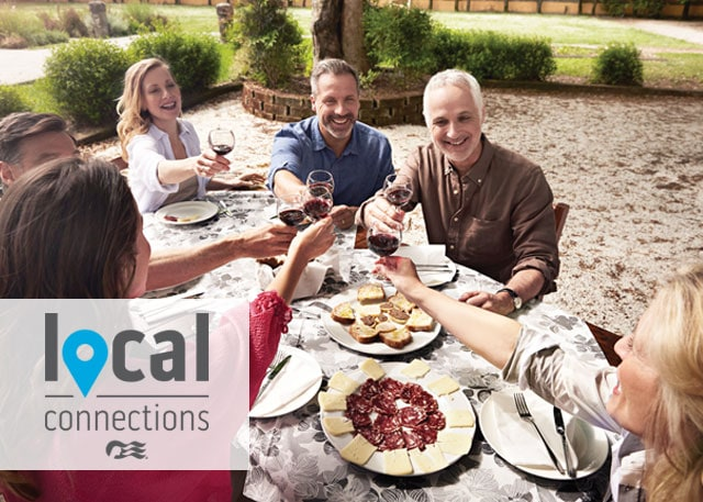 group enjoying a localy made meal - local connections logo in the bottom left