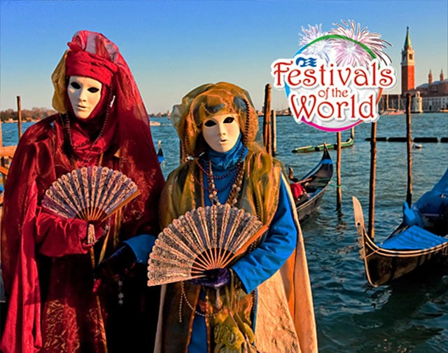 couple dressed for the Carnevale di Venezia in Venice, Italy  with Festivals of the World logo in the top right