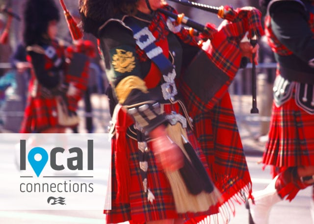 person matching and playing a bagpipe with the local connections logo