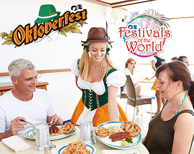 Oktoberfest cuisine on board with the Festivals of the World logo in the top right
