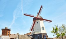 Windmill with red blades in Solvang, California