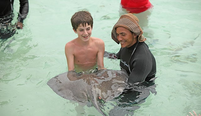 a boy holding a stingray in the water with a trainer on a princess Shore Excursion