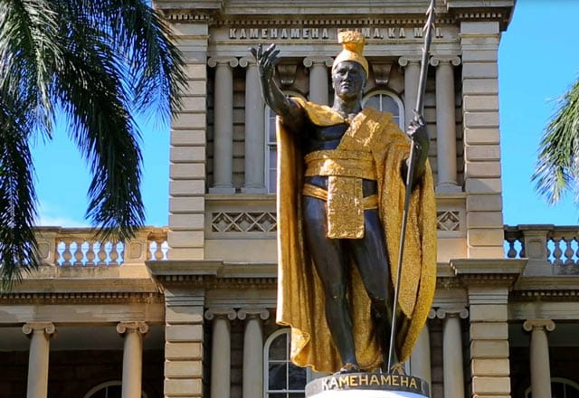Statue of Kamehameha in front of Honolulu city hall