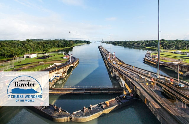 A few of the Panama Canal locks, featuring the conde nast travler 7 Cruise Wonders of the World logo
