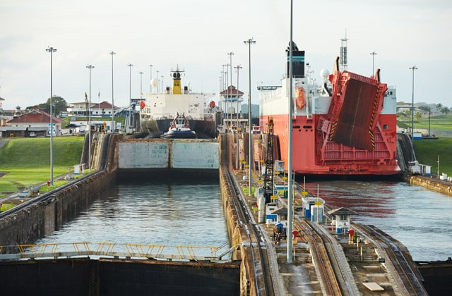 Transiting the locks of the Panama Canal