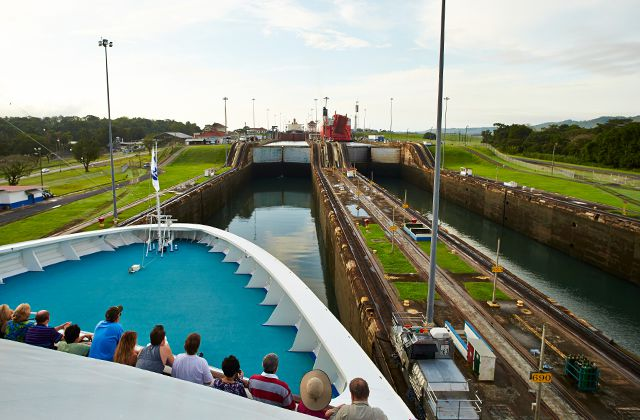 A view of the Panama Canal from the bow of a Princess ship.