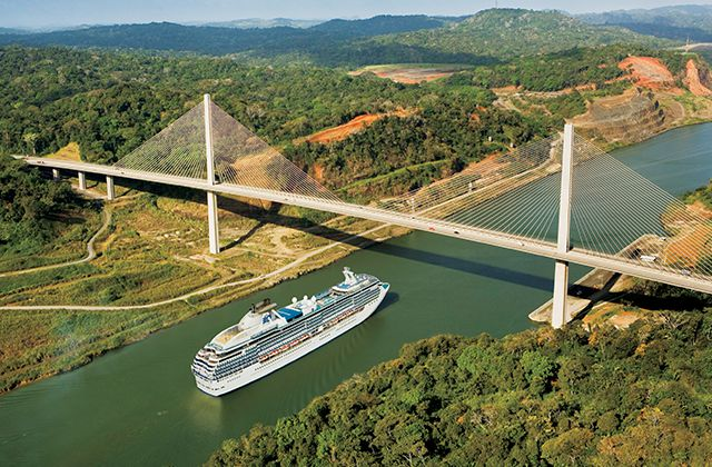 A Princess ship passing under the Centennial Bridge in Panama