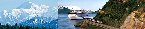 Mt. McKinley and cruise ship next to train