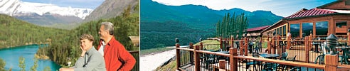 Couple sightseeing and Denali Wilderness Lodge Deck - Princess Alaska Cruisetour