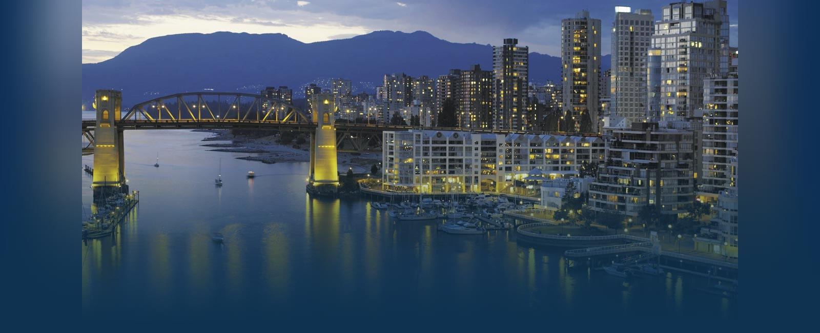 Vancouver B.C city at dusk
