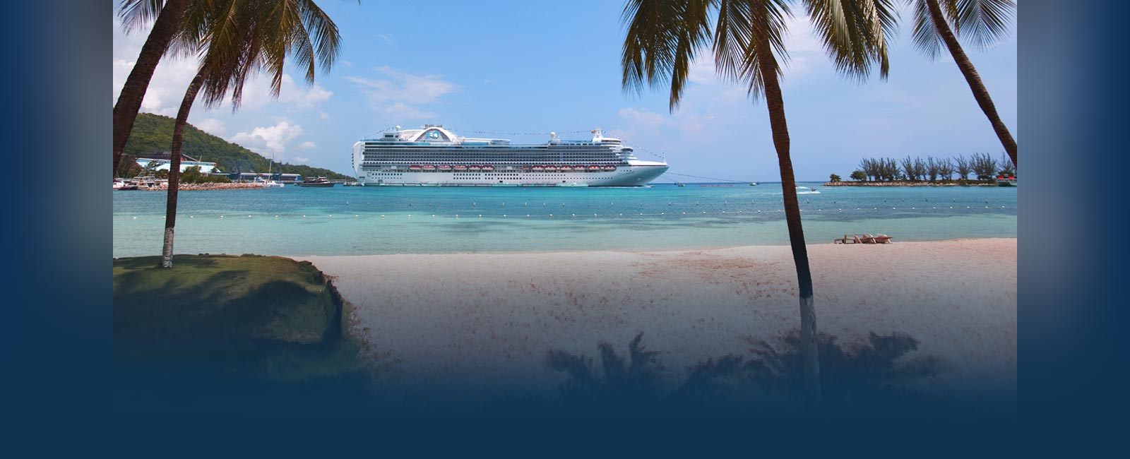 princess cruise ship docked by a Caribbean shore