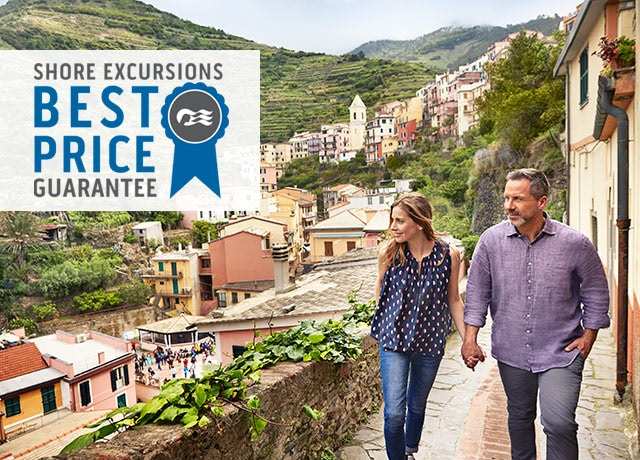 Shore Excursions Best Price Guarantee logo, couple walking in an Italian village while on a shore excursion
