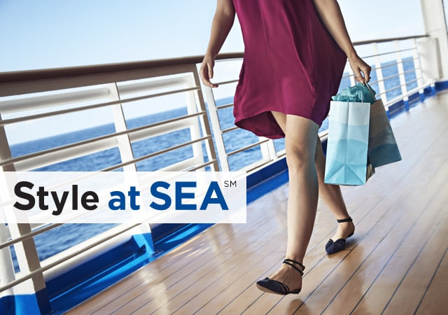 Style at Sea logo. Bottom half of woman walking on deck, holding two paper shopping bags