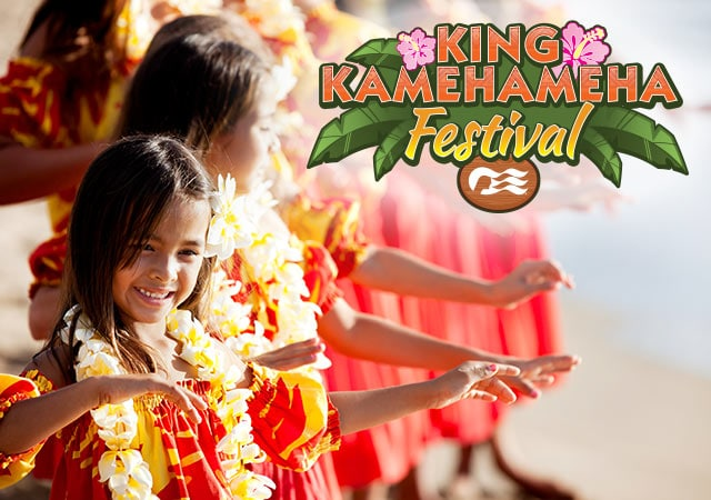 King Kamehamhea Festival with sea witch logo. Young girls with flower leis