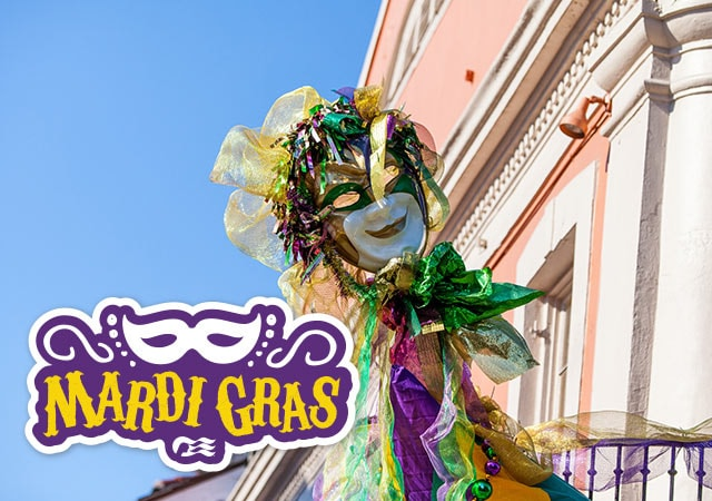 Mardi Gras with sea witch logo. Ornate Mardi Gras mask being held in the air next to a pink building with white trim