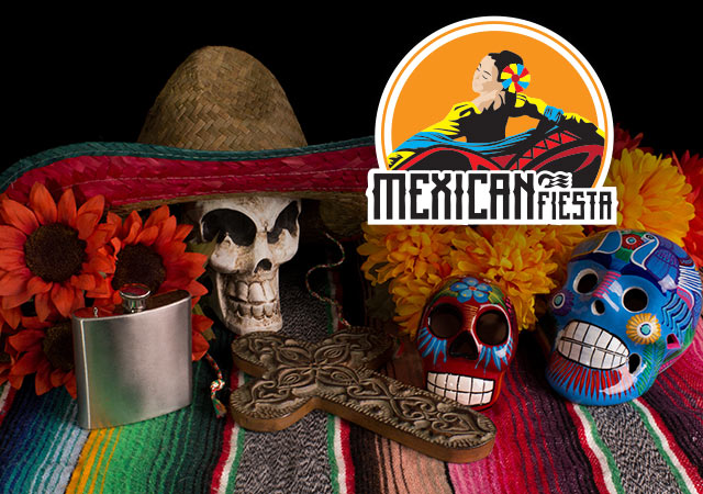 Mexican Fiesta with sea witch logo. Flowers, a flask, a skull with a sombrero, an ornate cross and painted sugar skulls