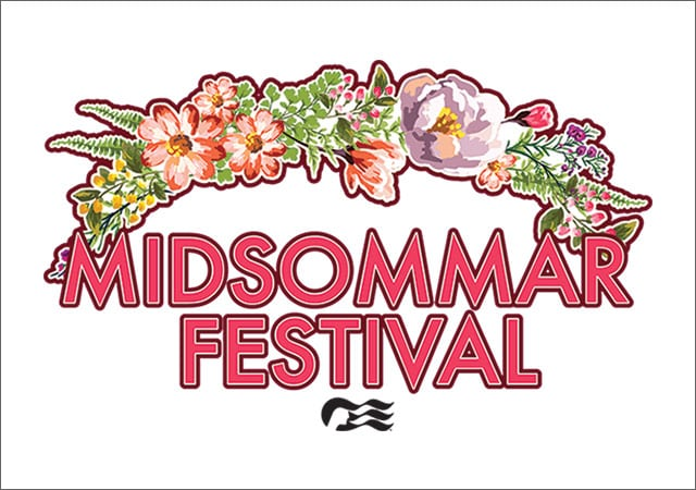 Midsommarfest with seawitch logo. A drawing of a half wreath of flowers