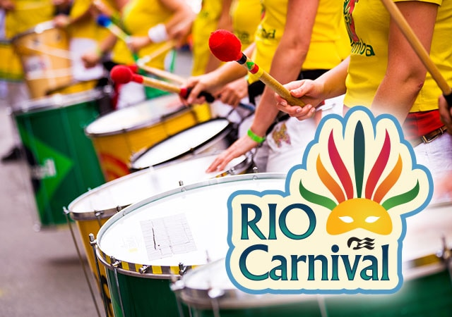 Rio Carnival with sea witch logo. People holding large drums and yellow mallet