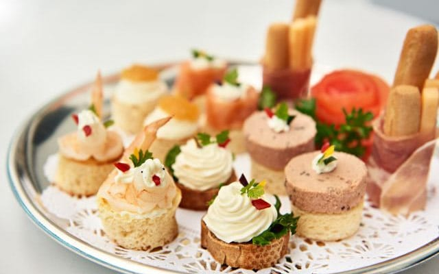 a tray of canapes