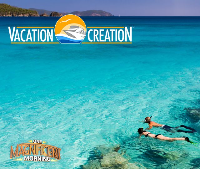 Vacation Creation logo; One Magnificent Morning. Man and woman in ocean with snorkel masks and flippers