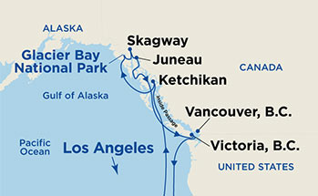 Map showing the port stops for Inside Passage (Roundtrip Los Angeles with Glacier Bay). For more details, refer to the List of Port Stops table on this page.