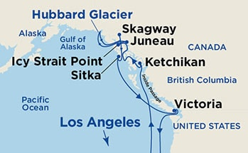 Map showing the port stops for Inside Passage (Roundtrip Los Angeles w/ Hubbard Glacier). For more details, refer to the disclaimer below and the itinerary port table on this page.
