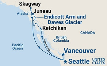 Map shows port stops for Inside Passage (Seattle to Vancouver). For more details, refer to the List of Port Stops table on this page