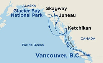 Map showing the port stops for Inside Passage (with Glacier Bay National Park)