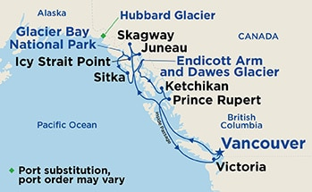 Map shows port stops for Inside Passage (with Glacier Bay National Park). For more details, refer to the List of Port Stops table on this page