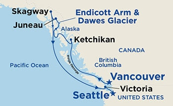 Map showing the port stops for Inside Passage (Vancouver to Seattle)