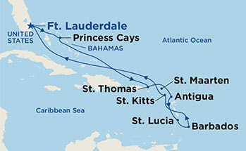 Map showing the port stops for Eastern Caribbean Voyager. For more details, refer to the List of Port Stops table on this page.