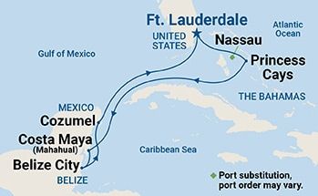 Map showing the port stops for Eastern Caribbean Explorers. For more details, refer to the List of Port Stops table on this page.