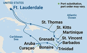 Map showing the port stops for Circle Caribbean. For more details, refer to the disclaimer below and the itinerary port table on this page.