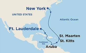 Map showing the port stops for Caribbean Islander. For more details, refer to the disclaimer below and the itinerary port table on this page.