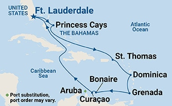Map shows port stops for Southern Caribbean Medley. For more details, refer to the List of Port Stops table on this page