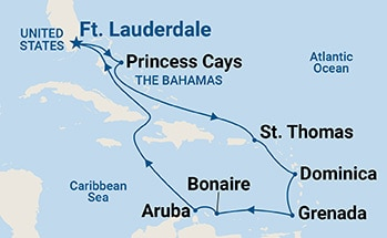 Map showing the port stops for Southern Caribbean Medley. For more details, refer to the List of Port Stops table on this page.