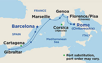 Map showing the port stops for Mediterranean. For more details, refer to the disclaimer below and the itinerary port table on this page.