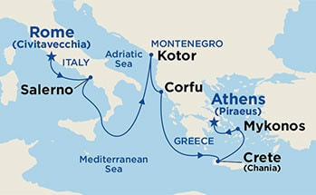 Map showing the port stops for Mediterranean & Aegean. For more details, refer to the disclaimer below and the itinerary port table on this page.