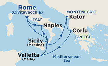 Map showing the port stops for Mediterranean - Roundtrip Rome. For more details, refer to the disclaimer below and the itinerary port table on this page.