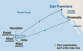 Map showing the port stops for Hawaiian Islands. For more details, refer to the disclaimer below and the itinerary port table on this page.