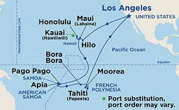 Map showing the port stops for Hawaii, Tahiti & Samoa. For more details, refer to the disclaimer below and the itinerary port table on this page.